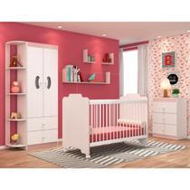 Jogo Quarto de Bebê Completo Ternura Branco/Rosa - PN Baby -