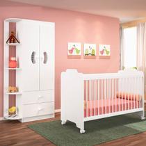 Jogo Quarto de Bebê Guarda Roupa e Berço Ternura Branco - PN Baby -
