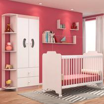 Jogo Quarto de Bebê Guarda Roupa e Berço Ternura Branco/Rosa - PN Baby -
