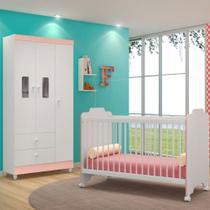 Jogo Quarto de Bebê Guarda Roupa Vitória e Berço Ternura Branco/Rosa - PN Baby -