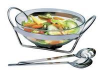 Jogo Salada Linear Inox e Vidro com Talheres 35,5Cm - Regent