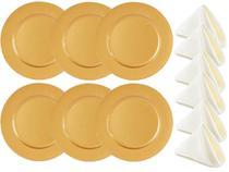 Jogo Sousplat Dourado Liso e Guardanapo Tecido 12 Peças - Mundial Import