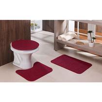 Jogo Tapete Banheiro Relevo 3 Peças Vermelho - Tapetes Oasis