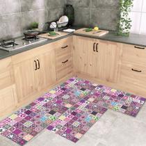 Jogo Tapete De Cozinha Mosaique 3 Peças Com Antiderrapante - Style Brazil