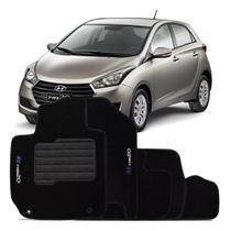 Jogo Tapete Hb20 12 13 14 15 16 17 18 19 20 21 Carpete Automotivo Hyundai 5 Pçs Logo Bordado Preto - Ecotap