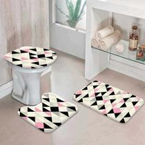 Jogo Tapetes para Banheiro Multi Triângulos Rosa - Love Decor