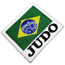 Judô Bandeira Brasil Patch Bordado Termo Adesivo Para Kimono - Br44