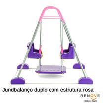 Jundbalanço Duplo com Estrutura Rosa - Jundplay -
