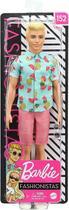 Ken Fashionistas - 152 Cabelo Loiro Camisa Tropical Shorts Coral - Mattel