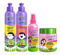 Kids Cabelo Liso Shampoo + Condicionador 240ml + Spray 150ml + Máscara 250g Bio Extratus -