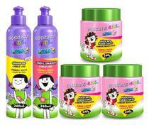 Kids Para Cabelo Liso Shampoo + Condicionador 240ml + 3 Máscara 250g Bio Extratus -