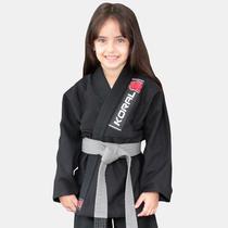 Kimono Jiu Jitsu Koral Infantil Trançado Preto-M0 -