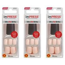 Kiss Impress Color Unhas Artificiais Curto Bubble Gum (Kit C/03) -