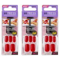 Kiss Impress Color Unhas Artificiais Médio Rather Reck (Kit C/03) -