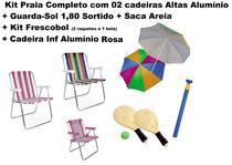 Kit 02 Cadeira Alumínio+ Cadeira inf Rosa + Guarda-Sol 1,80+Saca Areia+Kit Frescobol - Mor