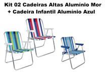 Kit 02 Cadeiras Alta Alumínio Mor+cadeira Infantil Azul Alum -