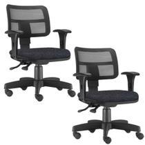 0d4d7a093 Kit 02 Cadeiras Giratória Zip Executiva Ergonômica Escritório Linho Chumbo  - Lyam Decor - Lymdecor