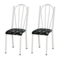 Kit 02 Cadeiras Tubular Branca 021 Assento Preto Florido - Artefamol