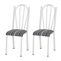 Kit 02 Cadeiras Tubular Branca 021 Assento Preto Listrado - Artefamol
