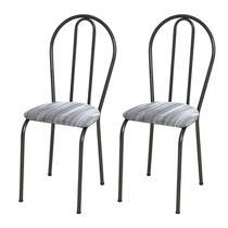 Kit 02 Cadeiras Tubular Cromo Preto 004 Assento Linho - Artefamol