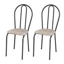 Kit 02 Cadeiras Tubular Cromo Preto 004 Assento Rattan - Artefamol
