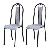 Kit 02 Cadeiras Tubular Cromo Preto 058 Assento Grafiato - Artefamol