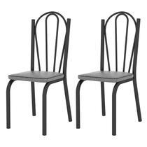 Kit 02 Cadeiras Tubular Preto Fosco 121 Assento Platina - Artefamol