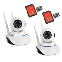 Kit 02 Câmeras de Segurança IP HD 720p Robo Wireless com áudio Onvif +  02 Cartões  de Memória 32GB - Jortan