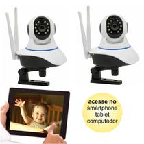 Kit 02 Câmeras de Segurança IP sem Fio Wifi HD 720p Robo Wireless com áudio Onvif - Jortan
