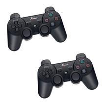 Kit 02 Controle Playstation 3 S/ Fio Wireless Vibração Ps3 - Cinha