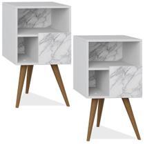 Kit 02 Criados Mudo com Porta Retrô Branco Carrara - Be Mobiliário -