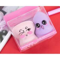 Kit 02 Esponjas para Maquiagem Base, Corretivo, 1 esponja gota + 1 esponja polvo - Licashop