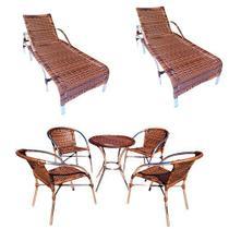 Kit 02 espreguiçadeiras + jogo de mesa, varanda, piscina, gourmet, edicula, churrasqueira, deck - Realize Decor