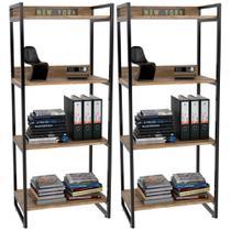 Kit 02 Estantes com 4 Prateleiras Escritório Estilo Industrial Form 146x60 cm Carvalho - Lyam Decor -