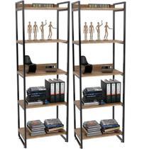 Kit 02 Estantes com 5 Prateleiras Escritório Estilo Industrial Form 187x60 cm Carvalho - Lyam Decor -