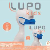 Kit 02 Mascaras Lupo Infantil Microfibra Anti Viral Azul Microfibra -