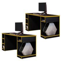 Kit 02 Mesas Para Computador Notebook PC Gamer Destiny Preto Amarelo - Lyam Decor -