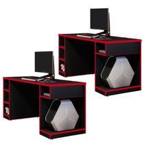 Kit 02 Mesas Para Computador Notebook PC Gamer Destiny Preto Vermelho - Lyam Decor -