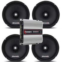 Kit 02 Pares Alto Falante Snake 6 Pol + Amplificador Taramps Ds-800x4 -