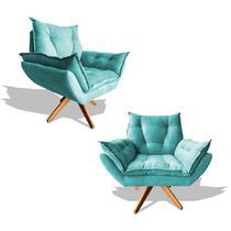 Kit 02 Poltrona Albany Cadeira Retro Base Giratoria Fibra de Silicone Recepção Decorativa Decoração Veludo Turquesa - Poltrona Store