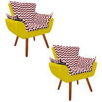 Kit 02 Poltrona Decorativa Opala Suede Composê Estampado Zig Zag Vermelho D79 e Suede Amarelo - DRossi -