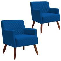 Kit 02 Poltronas Decorativas Para Sala de Estar e Recepção Diva Tressê Veludo Azul B-170 - Lyam Decor -