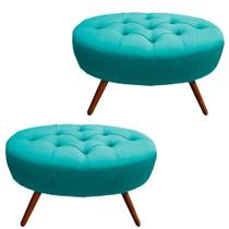 Kit 02 Puffs Classic Oval Pés Palito Capitonê Suede Azul Tiffany - DRossi -