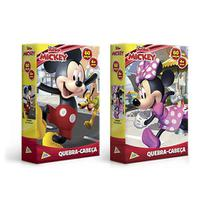 Kit 02 Quebra-Cabeça Mickey E Minnie 60 Peças Jak -