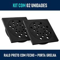 Kit 02 - Ralo com Fecho + Porta Grelha 15x15 cm (Preto) - Gemell