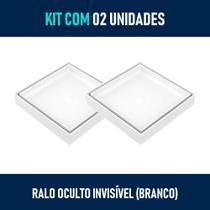 Kit 02 - Ralo Quadrado para Embutir no Porcelanato (Branco) - Gemell