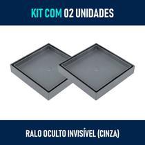 Kit 02 - Ralo Quadrado para Embutir no Porcelanato (Cinza) - Gemell