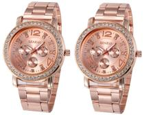 Kit 02 Relógios Geneva 2626 Dourado, Prata ou Rosê -