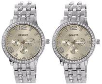 Kit 02 Relógios Geneva 2812 Dourado, Prata e Rosê -