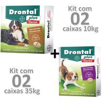Kit 02cx Drontal Plus Carne Cães 35kg + 02cx Cães 10kg - Bayer